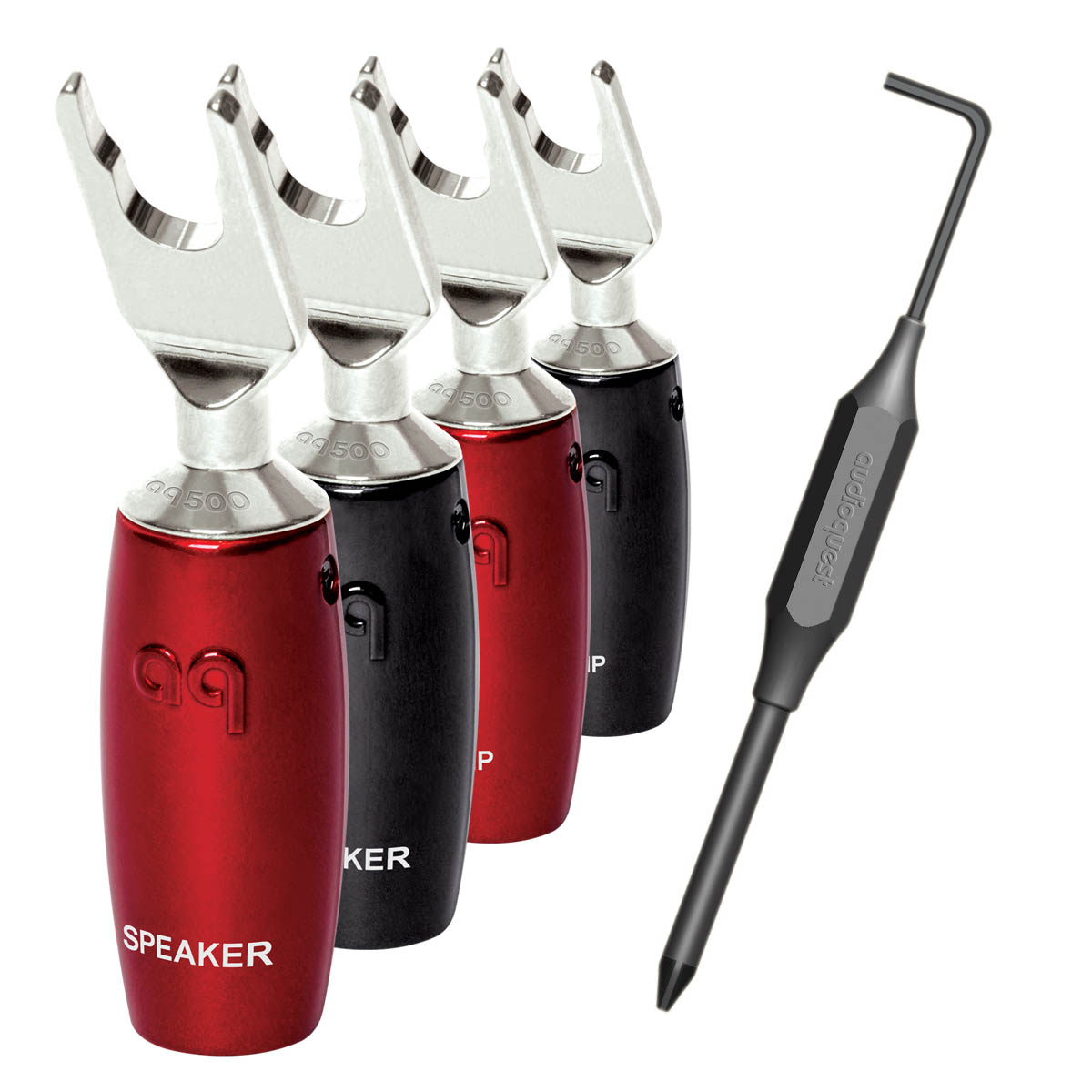 AudioQuest 507 Series Multi-Spade Silber 4er Set Lautsprecherstecker